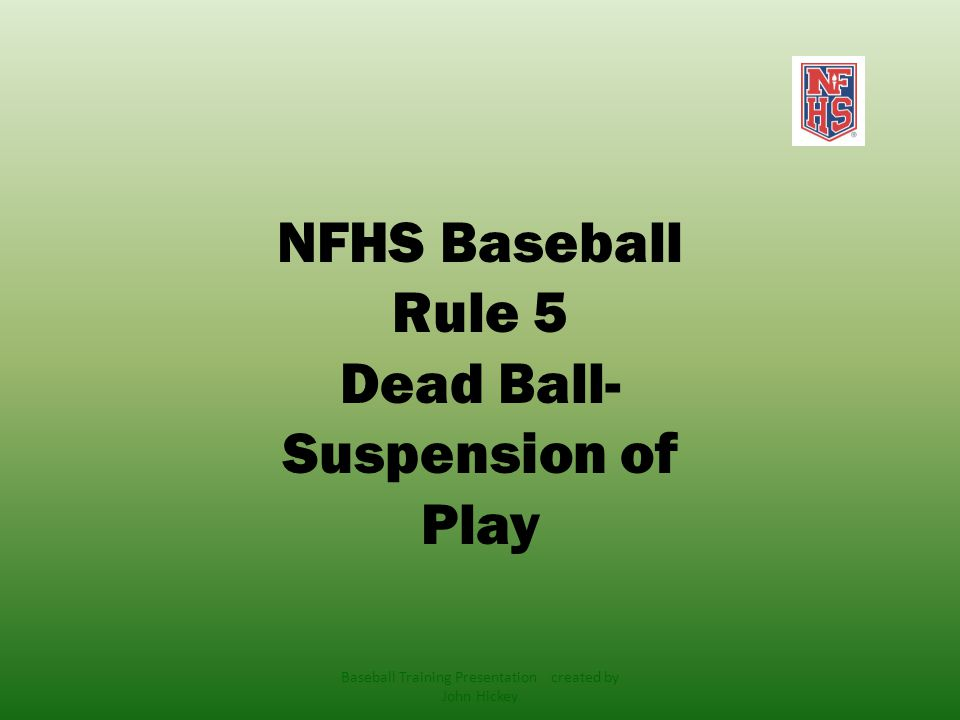 Dead Ball ! Baseball Training Presentation created by John Hickey