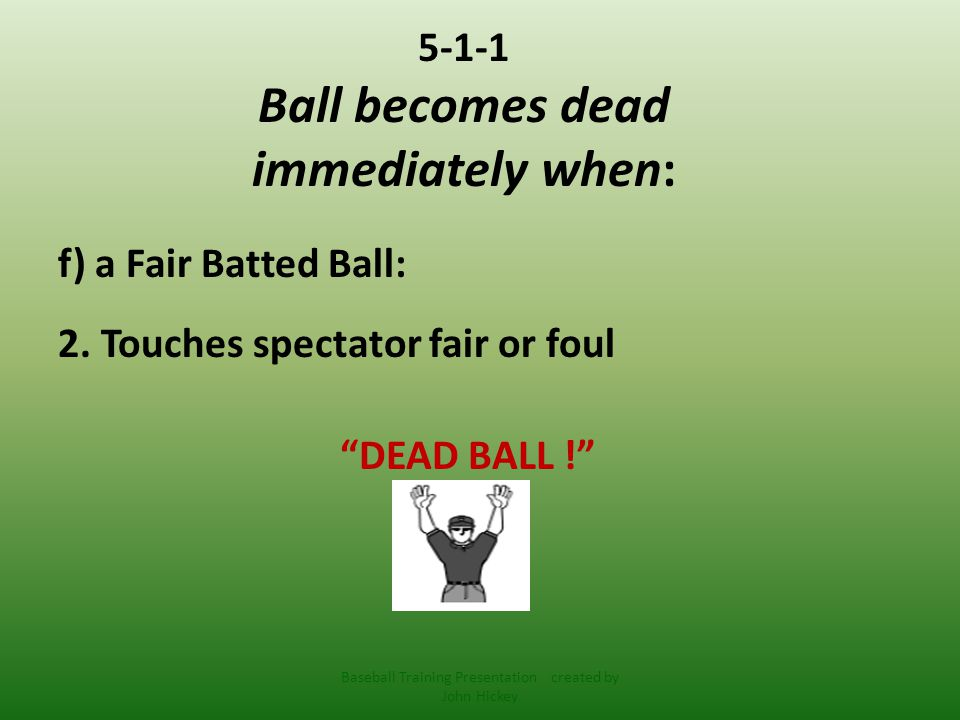 5-1-1 Ball becomes dead immediately when: f) a Fair Batted Ball: 3.