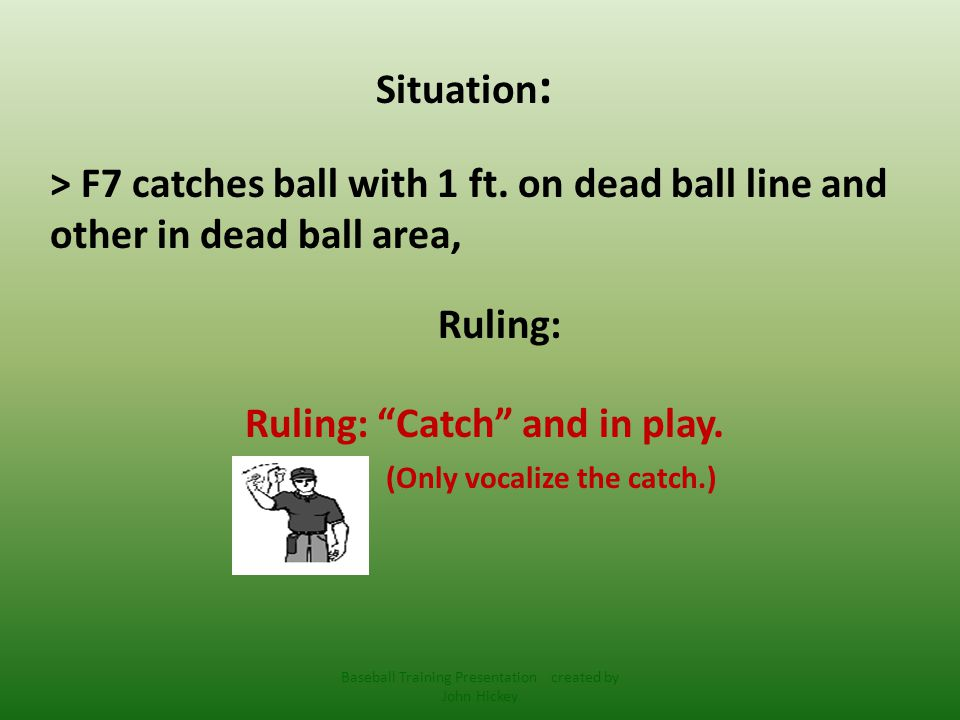 Situation : > F9 catches ball with both feet in dead ball area.