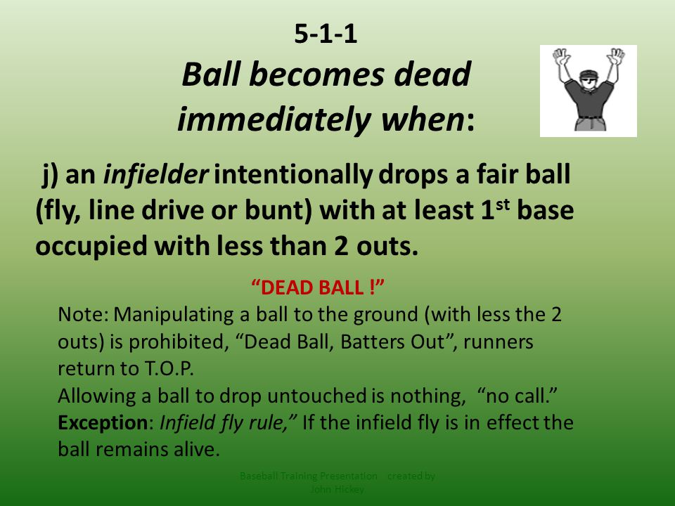 Situation : > R1 on 1 st, B2 hits a line drive or pop up, F4 intentionally drops the ball.