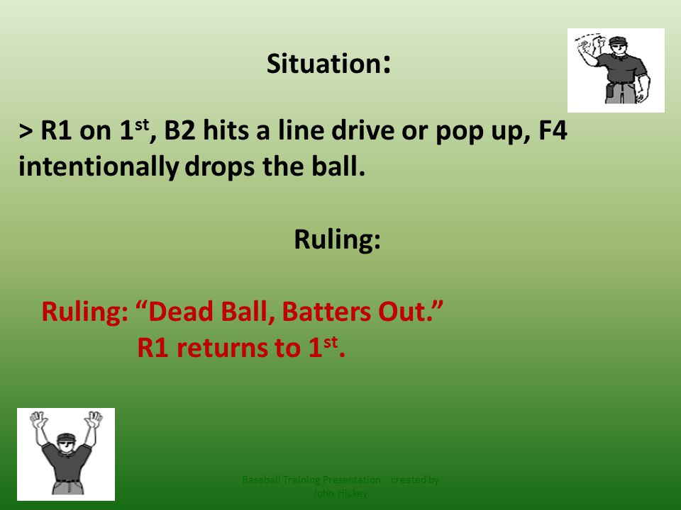 Note: Manipulating a ball to the ground- that's touching it but intentionally allowing it to fall, (with less the 2 outs) is prohibited: Dead Ball, Batters Out and runners return to bases from T.O.P.