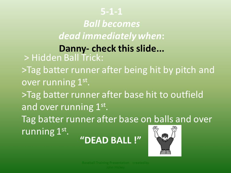 Delayed Dead Ball Baseball Training Presentation created by John Hickey