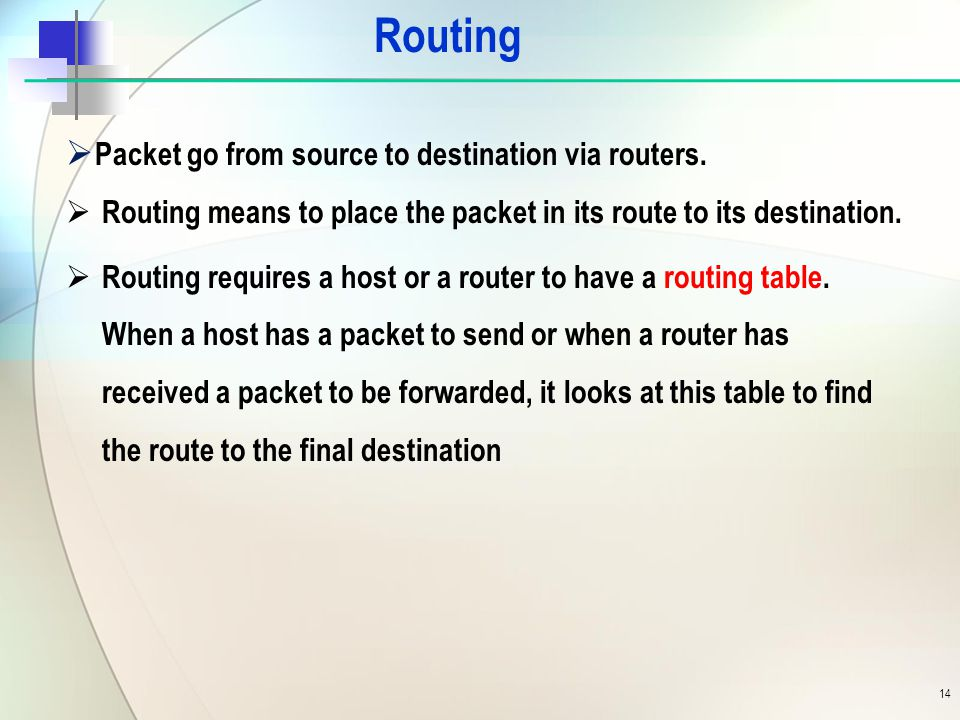 Routing  Packet go from source to destination via routers.