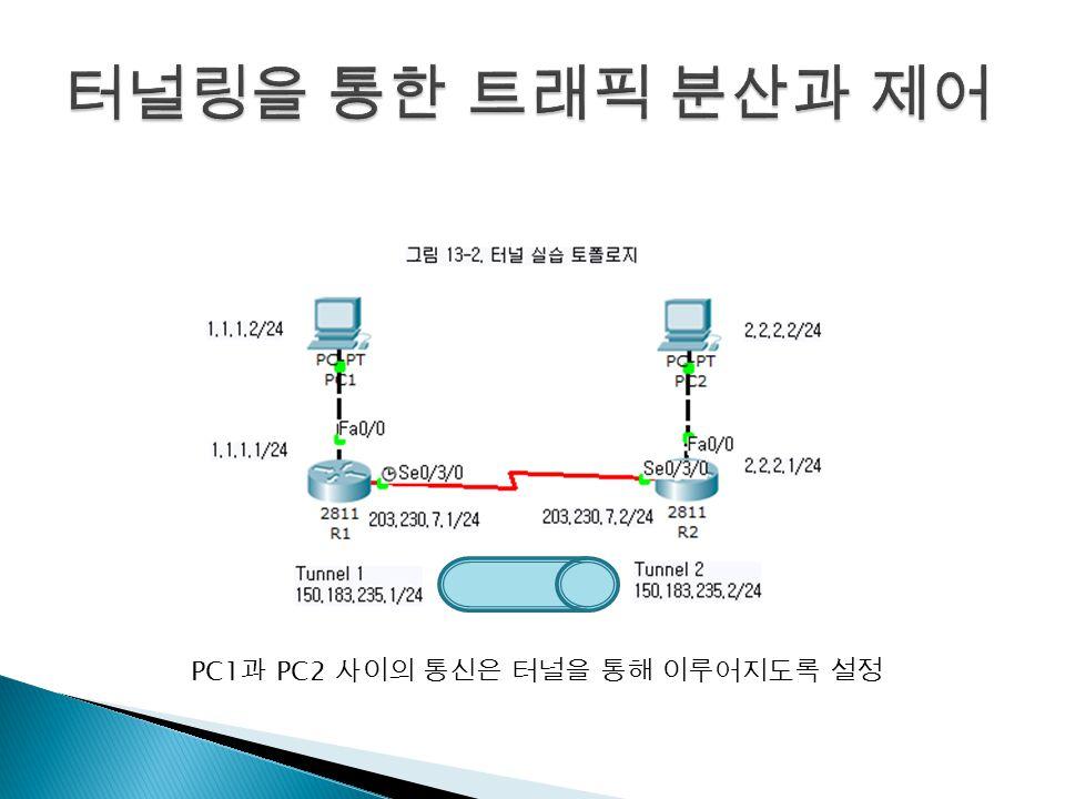PC1 과 PC2 사이의 통신은 터널을 통해 이루어지도록 설정