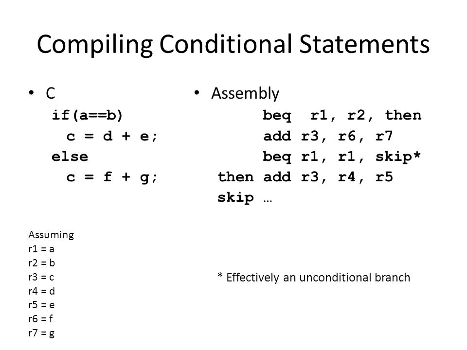 Compiling Conditional Statements C if(a==b) c = d + e; else c = f + g; Assembly beq r1, r2, then add r3, r6, r7 beq r1, r1, skip* then add r3, r4, r5 skip … * Effectively an unconditional branch Assuming r1 = a r2 = b r3 = c r4 = d r5 = e r6 = f r7 = g