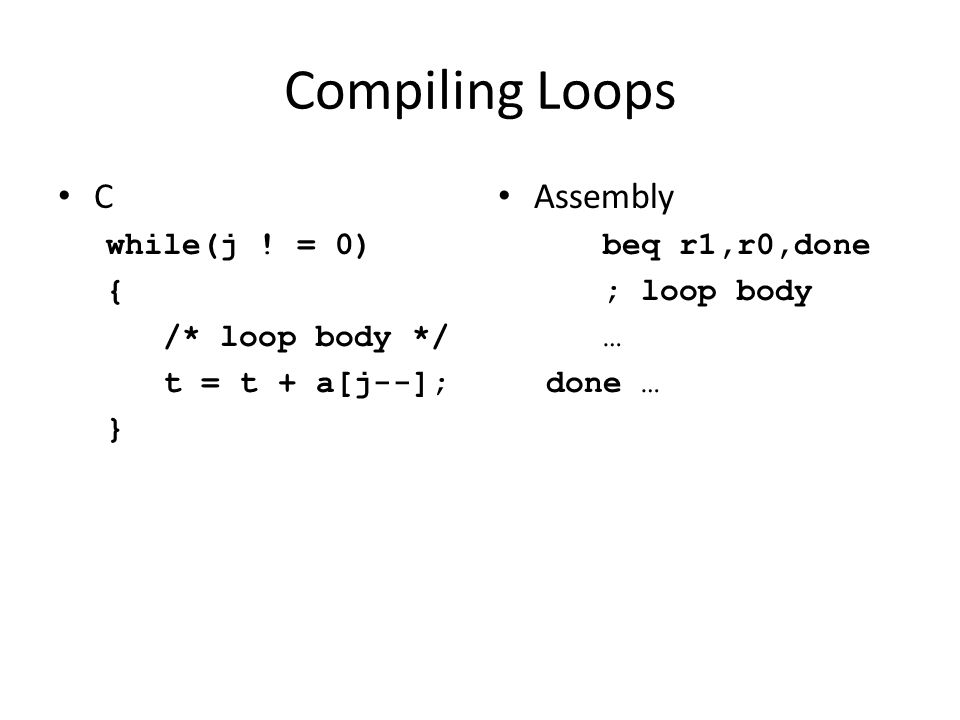Compiling Loops C while(j .