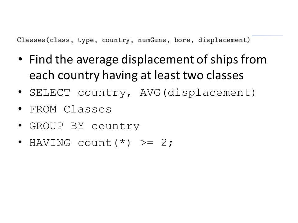 Find the average displacement of ships from each country having at least two classes SELECT country, AVG(displacement) FROM Classes GROUP BY country H