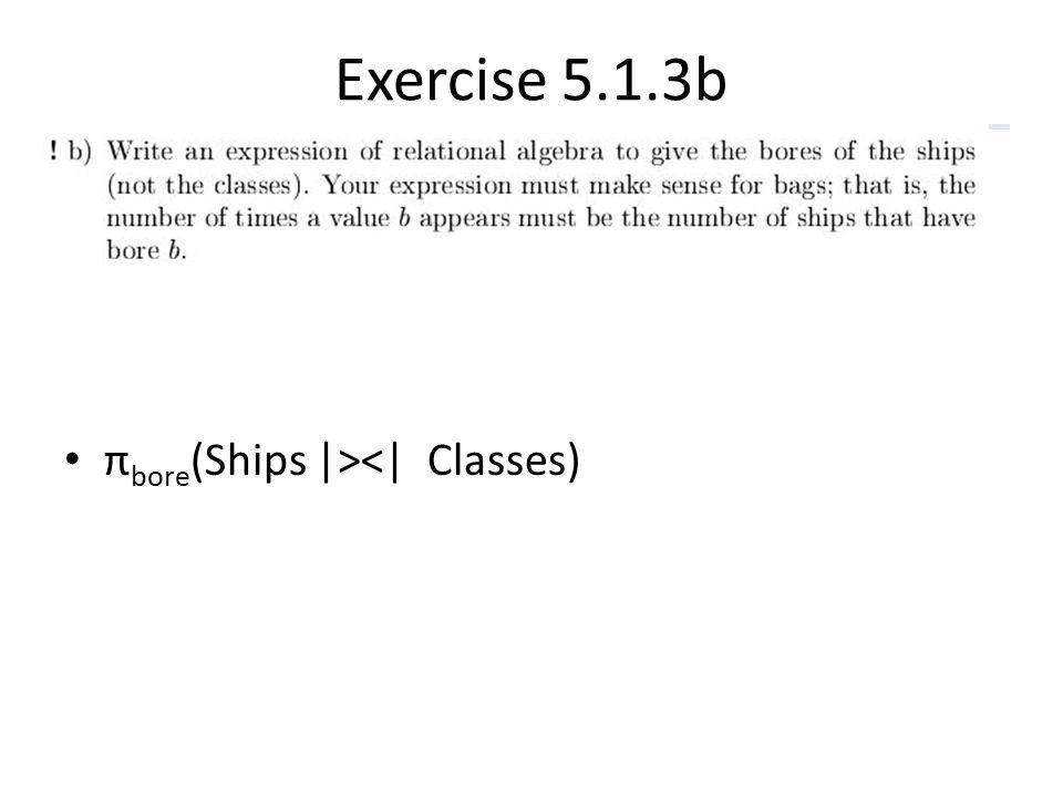 Exercise 5.1.3b π bore (Ships  ><  Classes)