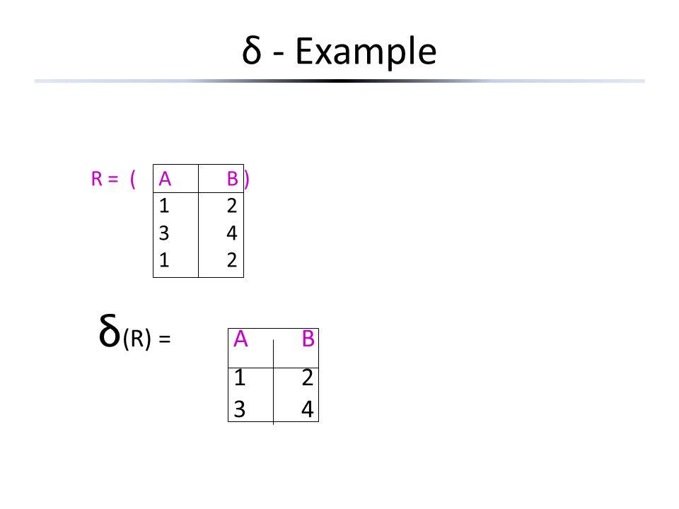 δ - Example R = (AB ) 12 34 12 δ (R) =AB 12 34