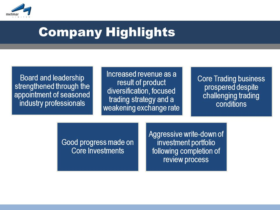 Aggressive write-down of investment portfolio following completion of review process Board and leadership strengthened through the appointment of seasoned industry professionals Good progress made on Core Investments Increased revenue as a result of product diversification, focused trading strategy and a weakening exchange rate Core Trading business prospered despite challenging trading conditions Company Highlights