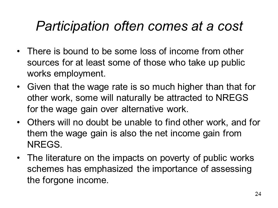 Participation often comes at a cost There is bound to be some loss of income from other sources for at least some of those who take up public works em