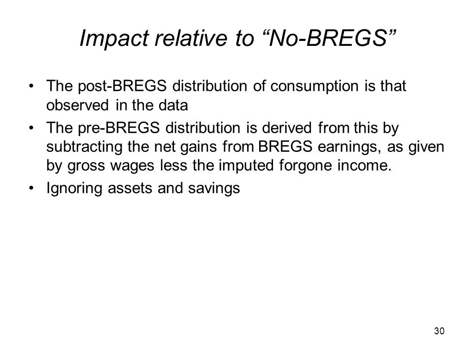 """Impact relative to """"No-BREGS"""" The post-BREGS distribution of consumption is that observed in the data The pre-BREGS distribution is derived from this"""