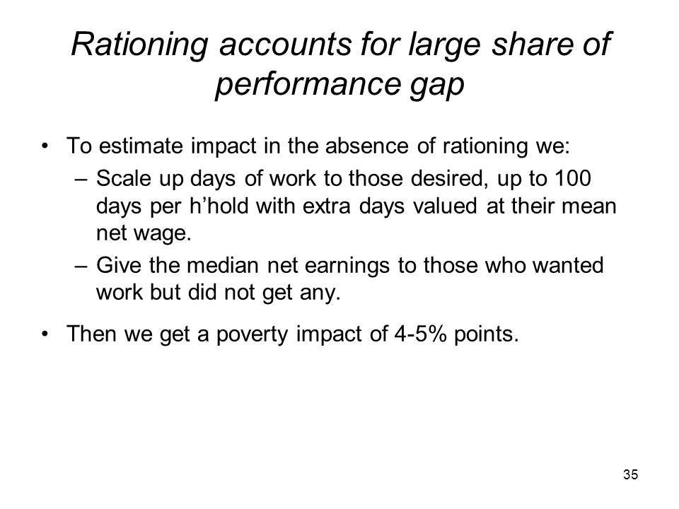 Rationing accounts for large share of performance gap To estimate impact in the absence of rationing we: –Scale up days of work to those desired, up t