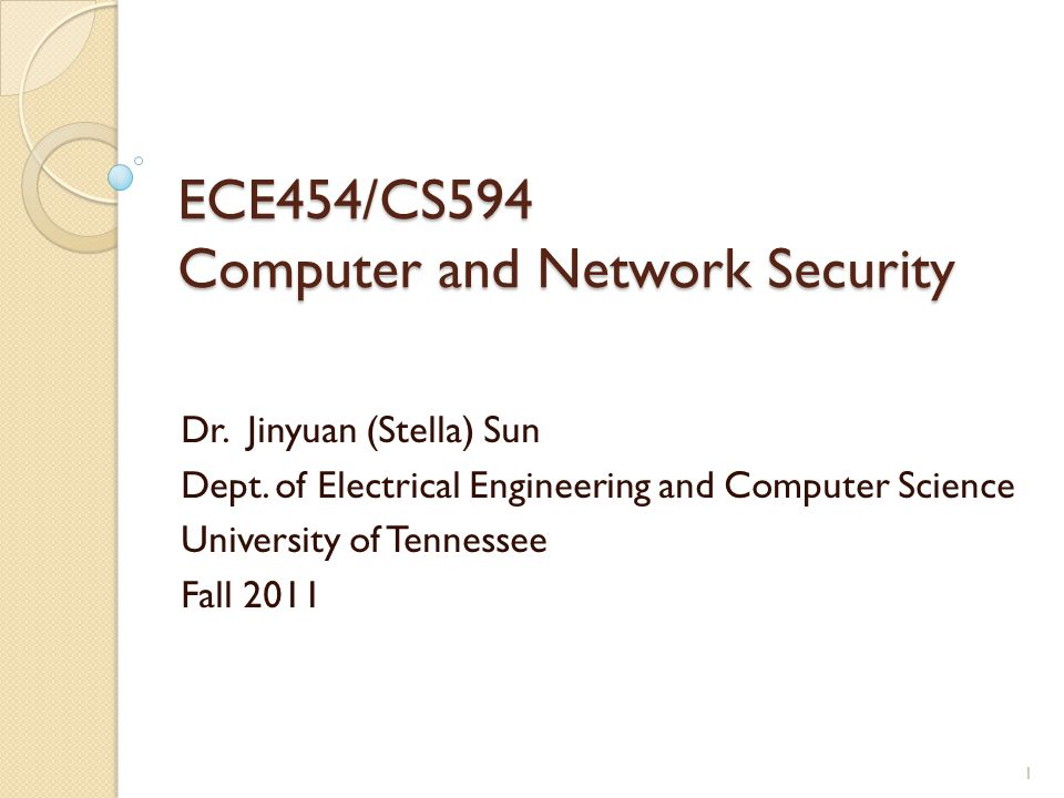 ECE454/CS594 Computer and Network Security Dr. Jinyuan (Stella) Sun Dept.