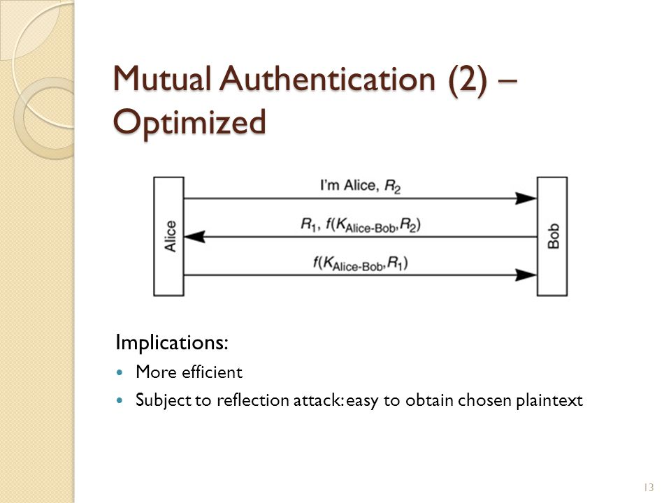 Mutual Authentication (2) – Optimized Implications: More efficient Subject to reflection attack: easy to obtain chosen plaintext 13