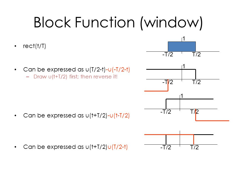 Block Function (window) rect(t/T) Can be expressed as u(T/2-t)-u(-T/2-t) – Draw u(t+T/2) first; then reverse it.