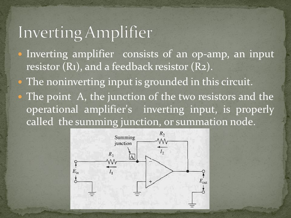 Inverting amplifier consists of an op-amp, an input resistor (R1), and a feedback resistor (R2). The noninverting input is grounded in this circuit. T