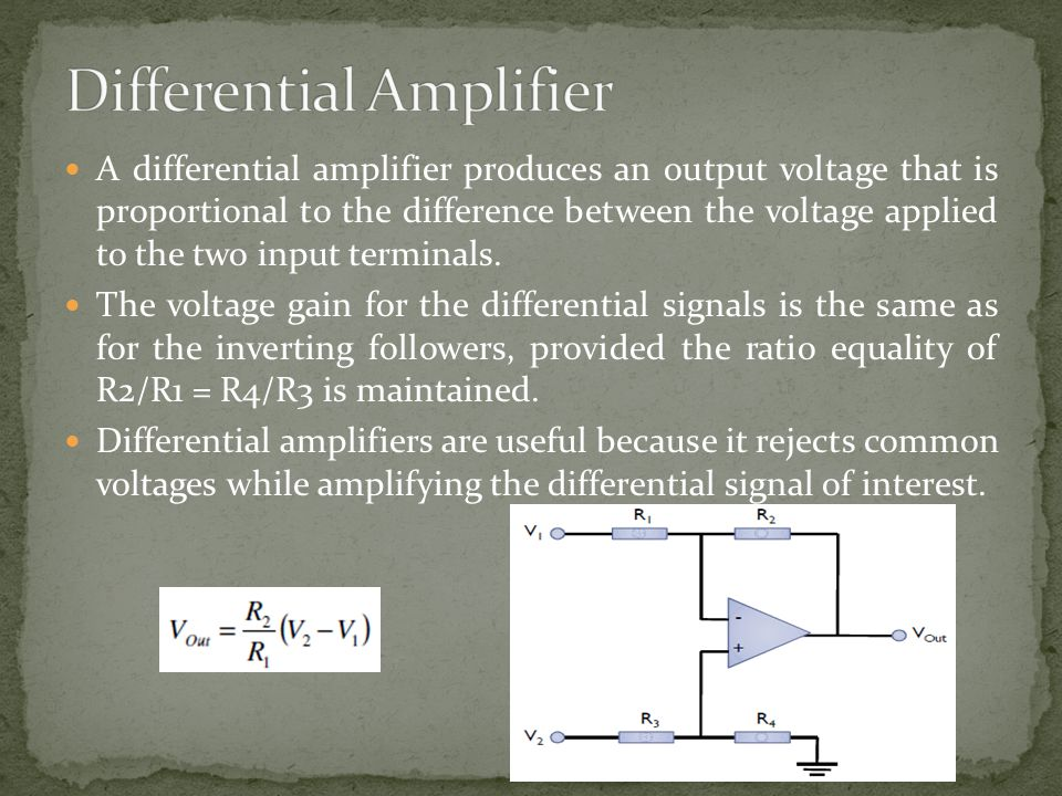 A differential amplifier produces an output voltage that is proportional to the difference between the voltage applied to the two input terminals. The