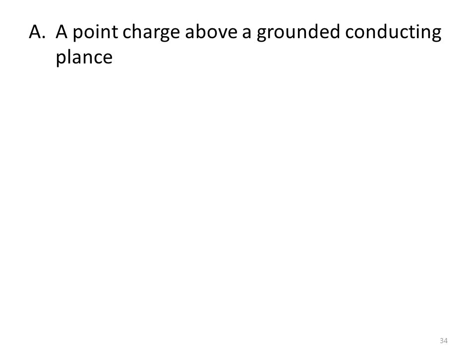 A.A point charge above a grounded conducting plance 34