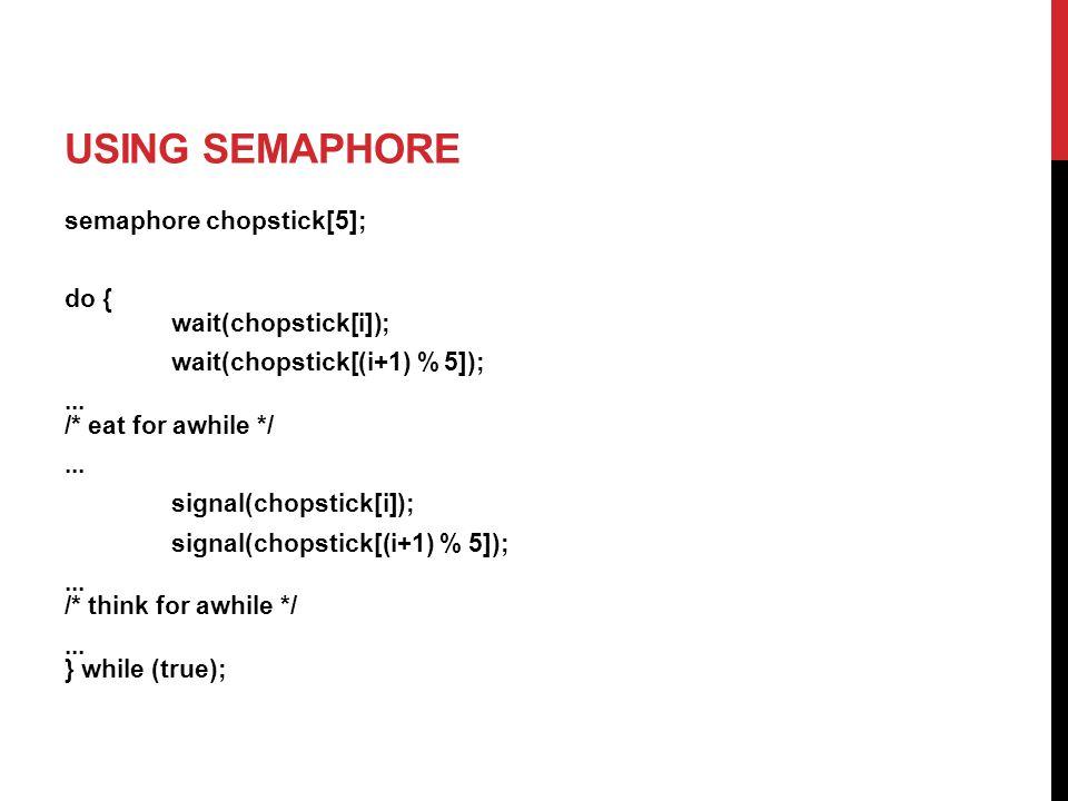 semaphore chopstick[5]; do { wait(chopstick[i]); wait(chopstick[(i+1) % 5]);...