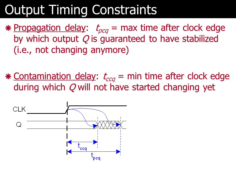 Output Timing Constraints  Propagation delay: t pcq = max time after clock edge by which output Q is guaranteed to have stabilized (i.e., not changing anymore)  Contamination delay: t ccq = min time after clock edge during which Q will not have started changing yet