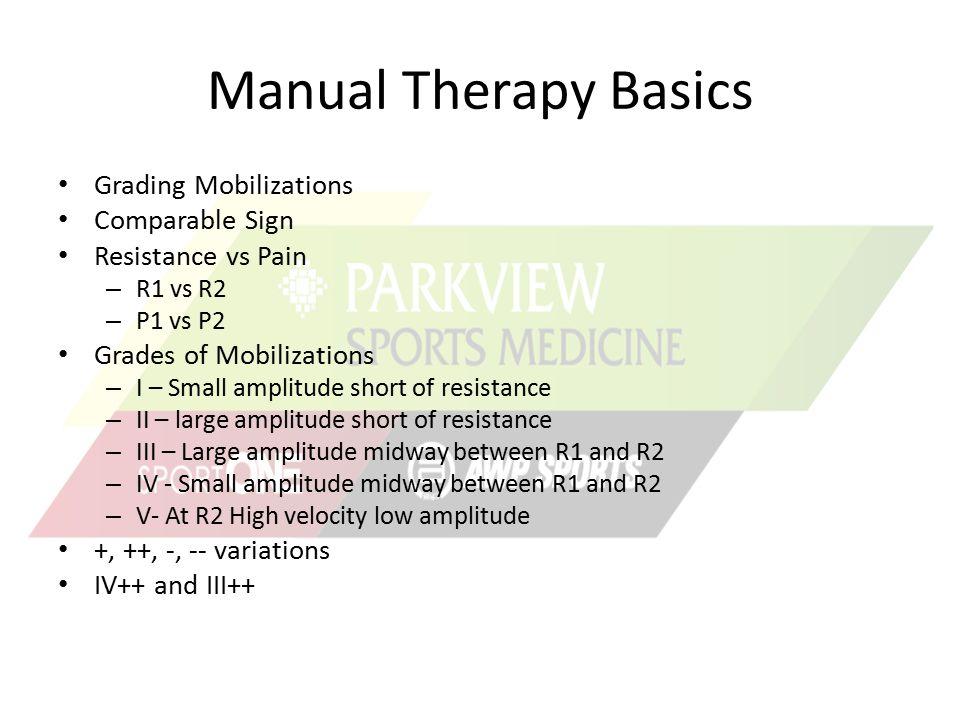 Manual Therapy Basics Grading Mobilizations Comparable Sign Resistance vs Pain – R1 vs R2 – P1 vs P2 Grades of Mobilizations – I – Small amplitude sho