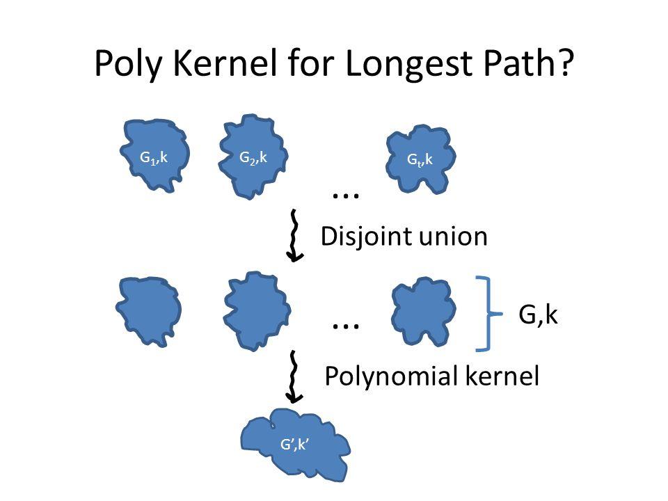 Poly Kernel for Longest Path G 1,k G 2,k G t,k... Disjoint union G',k'... G,k Polynomial kernel