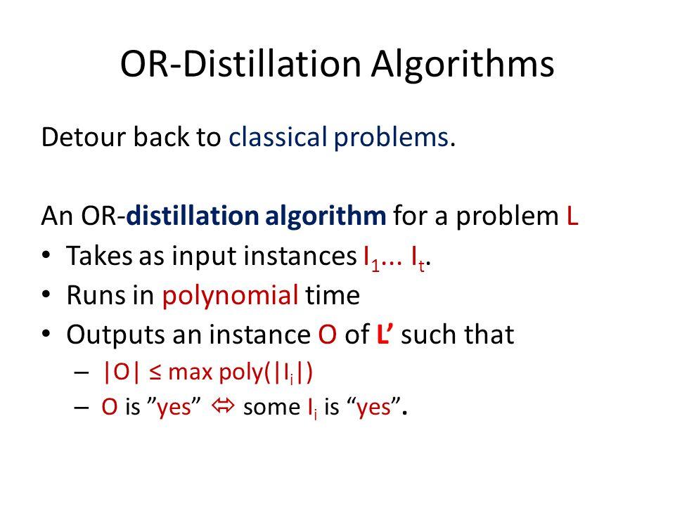 OR-Distillation Algorithms Detour back to classical problems.