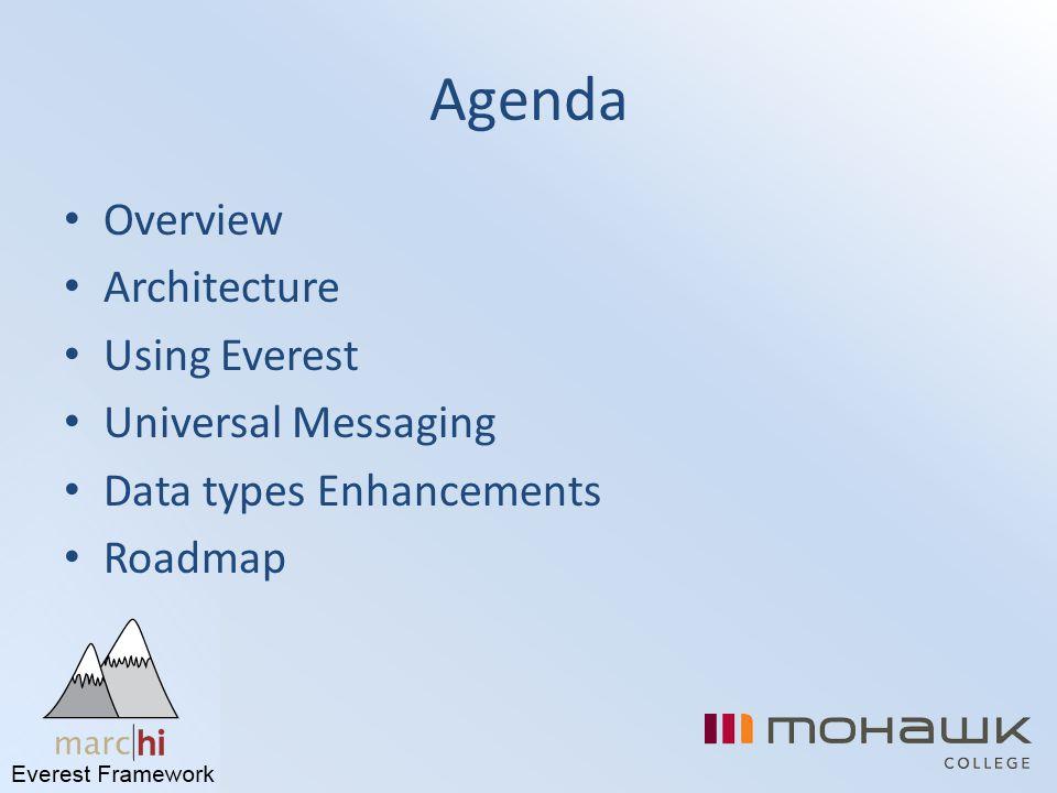 Agenda Overview Architecture Using Everest Universal Messaging Data types Enhancements Roadmap