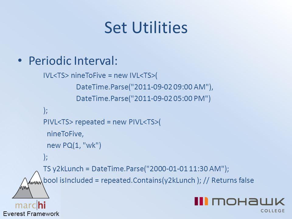 Set Utilities Periodic Interval: IVL nineToFive = new IVL ( DateTime.Parse(