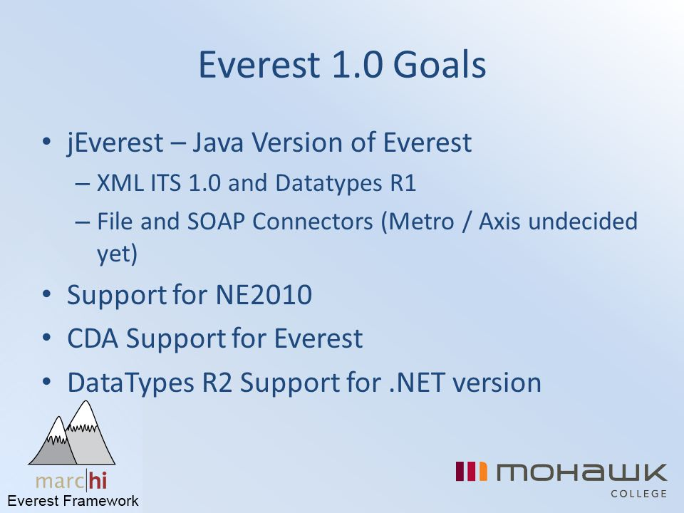 Everest 1.0 Goals jEverest – Java Version of Everest – XML ITS 1.0 and Datatypes R1 – File and SOAP Connectors (Metro / Axis undecided yet) Support fo