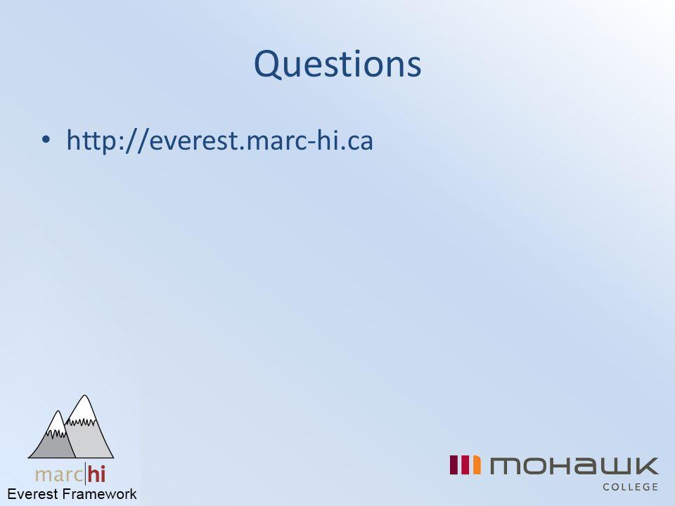 Questions http://everest.marc-hi.ca
