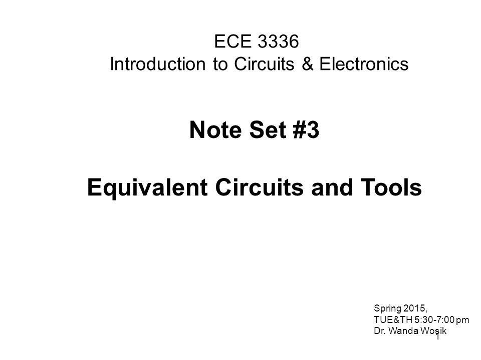 2 Series and Parallel Resistors Equivalent Circuits Equivalent circuit is used to simplify the original circuit but at the terminals it maintains the exact same parameters: ex.