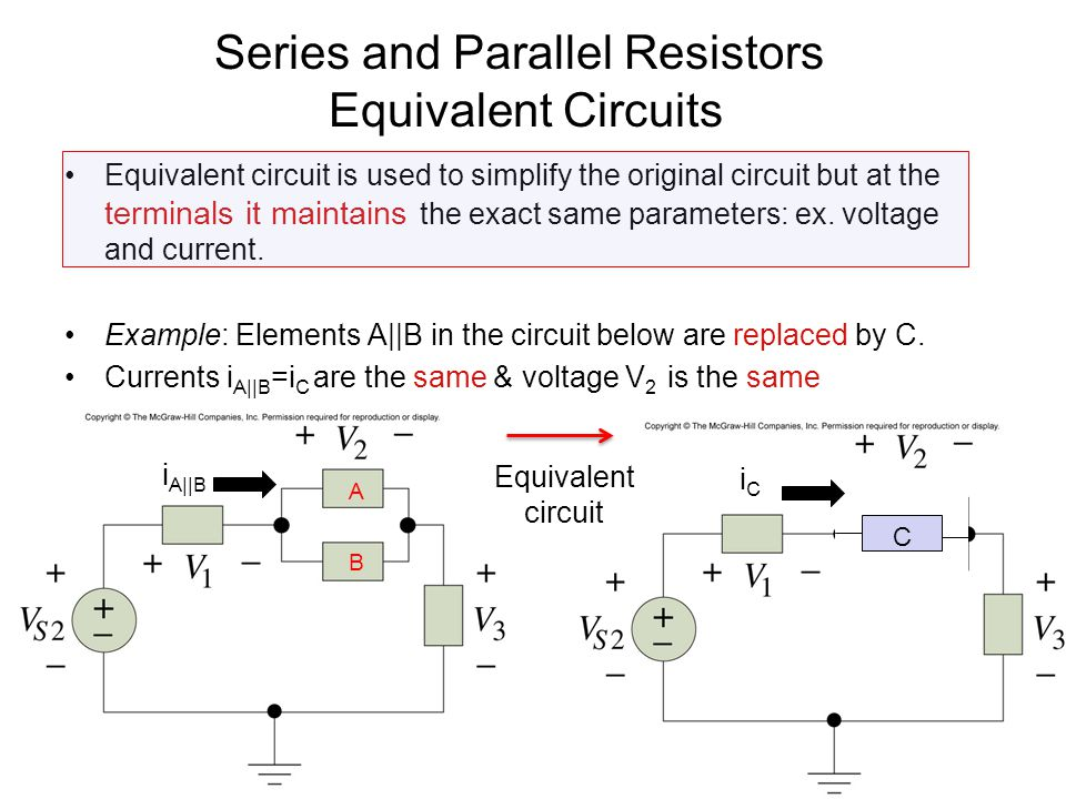 3 Equivalent Circuits Example: The same circuit but different equivalent circuit at different points A B i0i0 VDVD } This part of the circuit must not notice any change on the right.