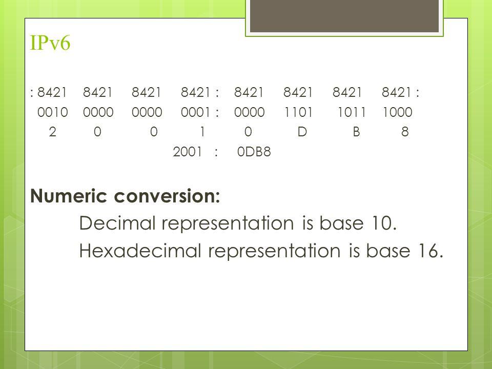 IPv6 : 8421 8421 8421 8421 : 8421 8421 8421 8421 : 0010 0000 0000 0001 : 0000 1101 1011 1000 2 0 0 1 0 D B 8 2001 : 0DB8 Numeric conversion: Decimal r