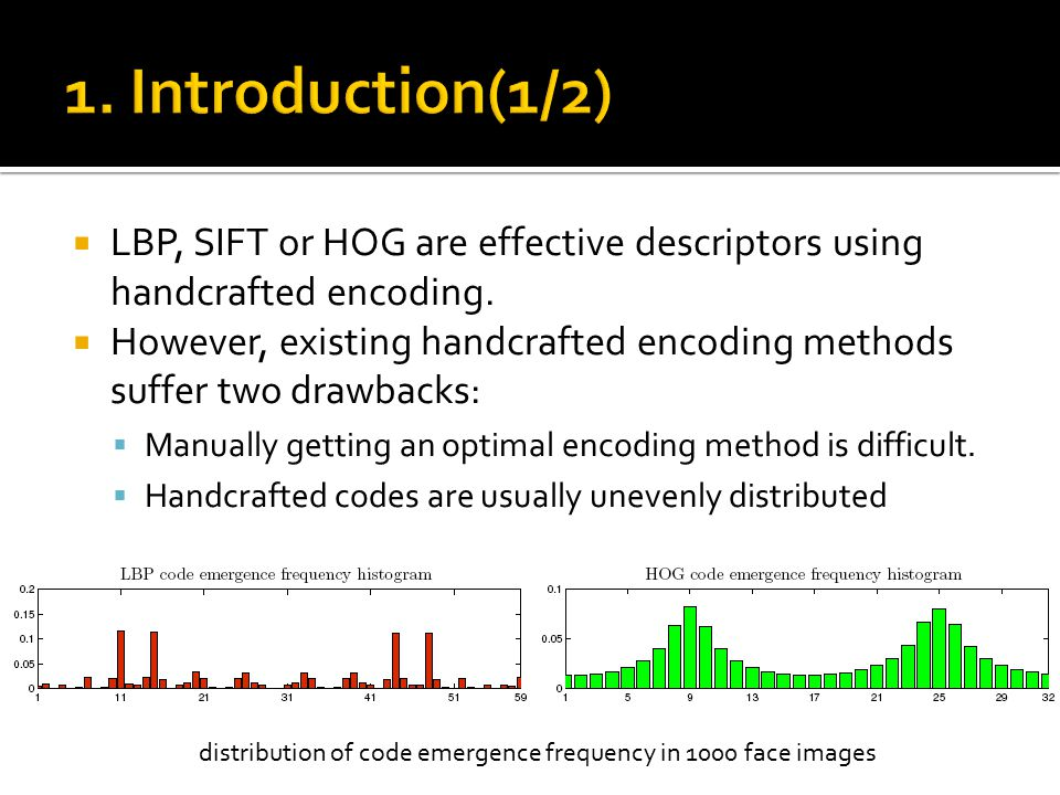  LBP, SIFT or HOG are effective descriptors using handcrafted encoding.