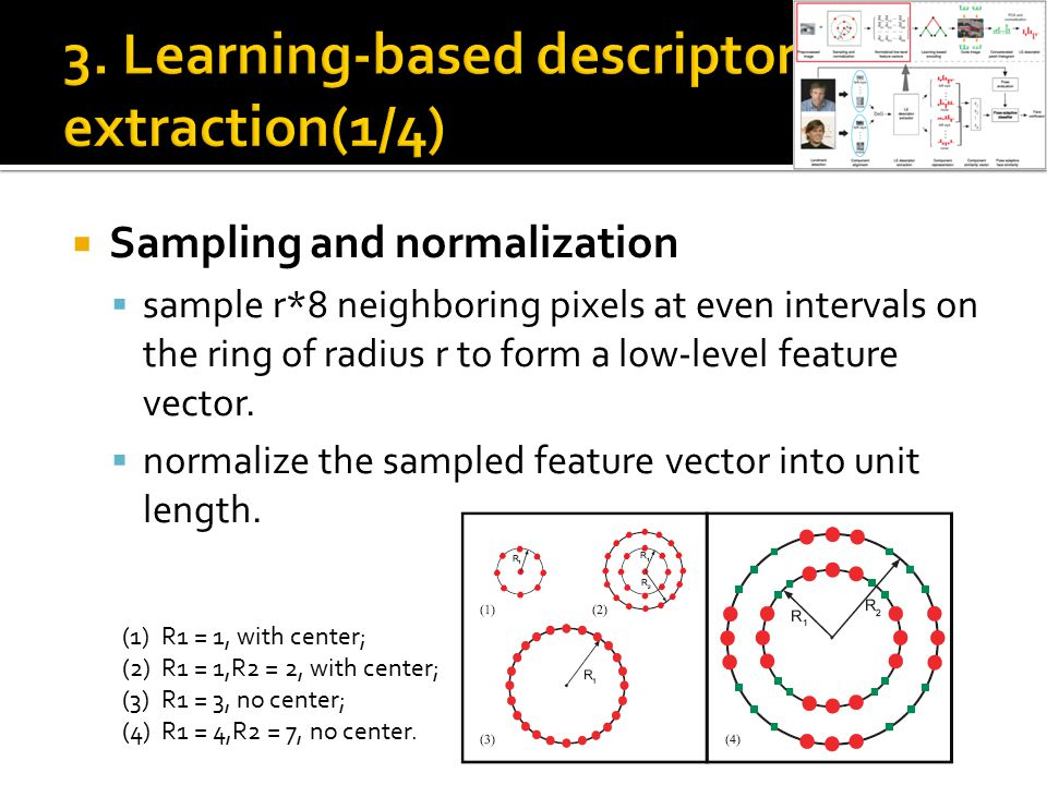  Sampling and normalization  sample r*8 neighboring pixels at even intervals on the ring of radius r to form a low-level feature vector.