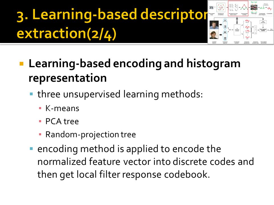  Learning-based encoding and histogram representation  three unsupervised learning methods: ▪ K-means ▪ PCA tree ▪ Random-projection tree  encoding method is applied to encode the normalized feature vector into discrete codes and then get local filter response codebook.