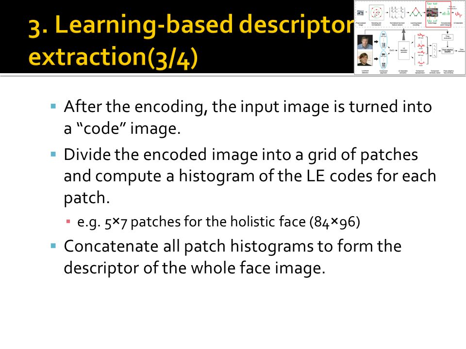  After the encoding, the input image is turned into a code image.