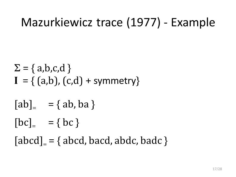 Mazurkiewicz trace (1977) - Example  = { a,b,c,d } I = { (a,b), (c,d) + symmetry } [ab]  = { ab, ba } [bc]  = { bc } [abcd]  = { abcd, bacd, abdc, badc } 17/28