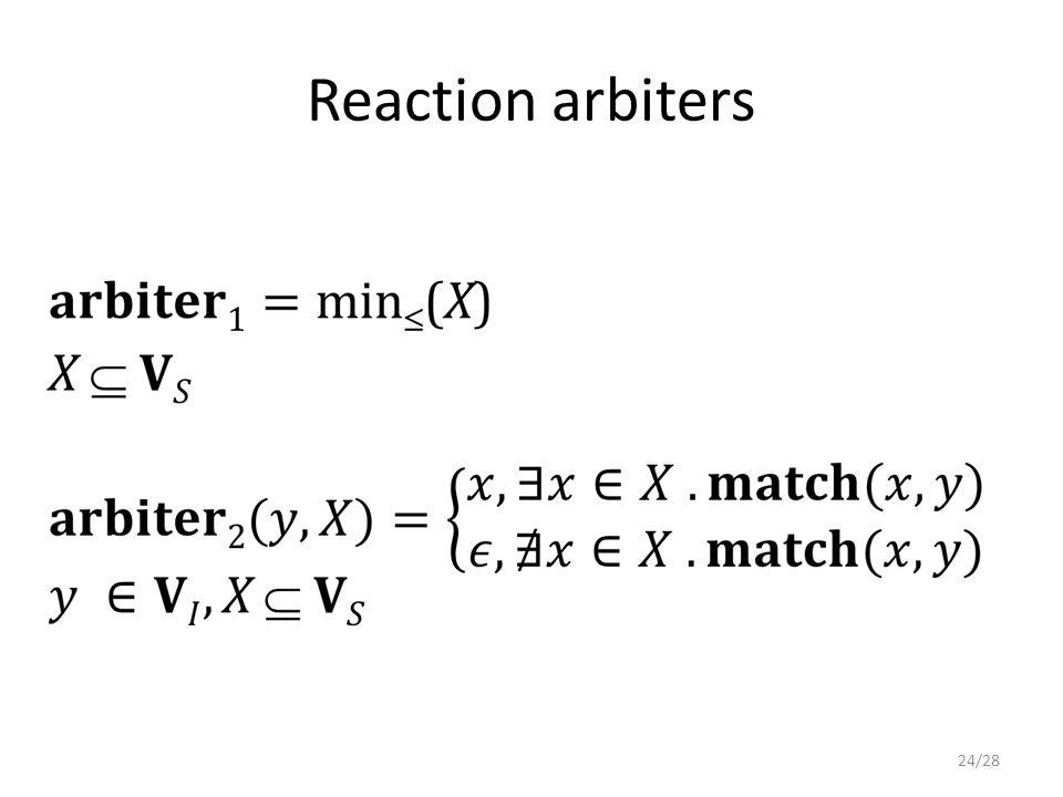 Reaction arbiters 24/28