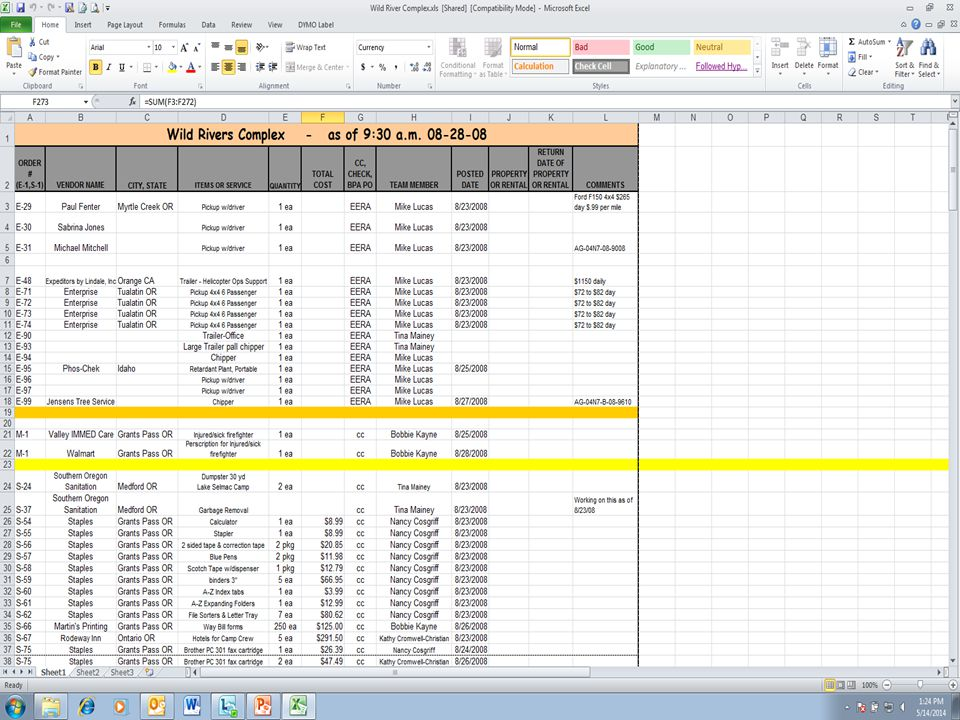 BUYING TEAM SPREADSHEET Input Directions −Enter resource orders as received −Enter partial fills – create a new line with the remaining amount −Standing orders – enter each time −Credits or returns – enter on a new line −Rental items – fill in vendor name, city, state, $0.00, current date – Create new line