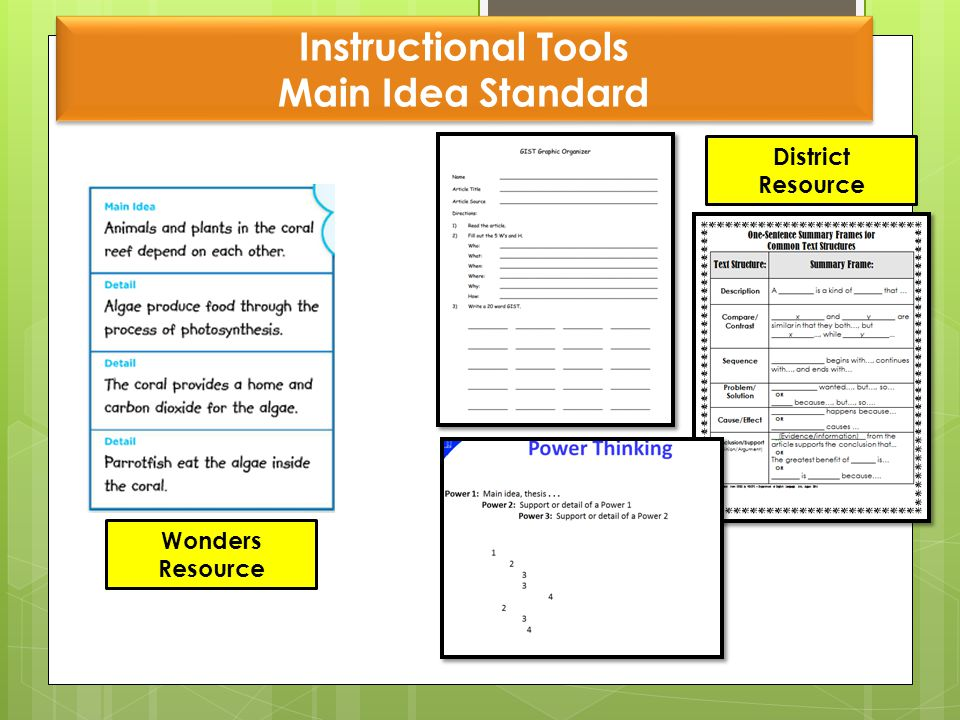 Instructional Tools Main Idea Standard Wonders Resource District Resource