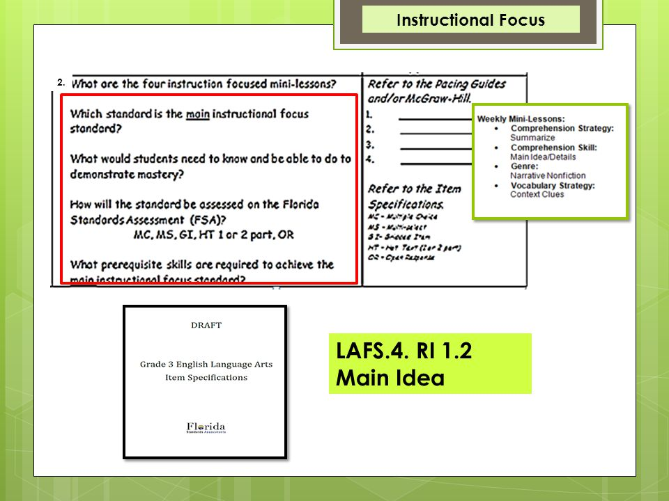 Instructional Focus 2. LAFS.4.R1.1.2 LAFS.4. RI 1.2 Main Idea