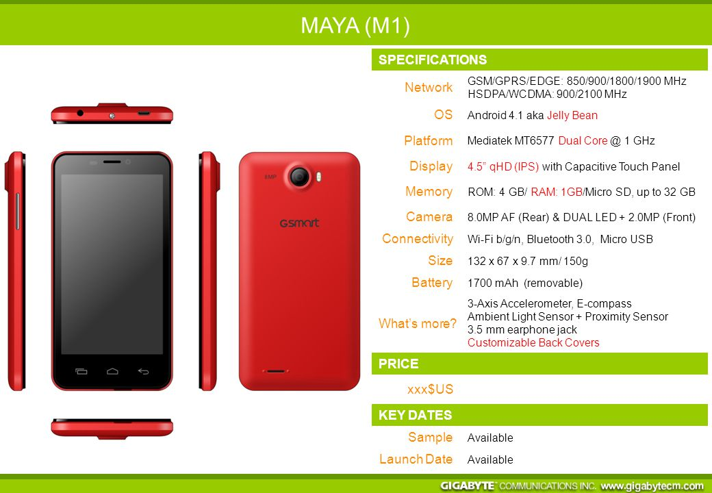 SPECIFICATIONS Network GSM/GPRS/EDGE: 850/900/1800/1900 MHz HSDPA/WCDMA: 900/2100 MHz OS Android 4.1 aka Jelly Bean Platform Mediatek MT6577 Dual Core @ 1 GHz Display 4.5 qHD (IPS) with Capacitive Touch Panel Memory ROM: 4 GB/ RAM: 1GB/Micro SD, up to 32 GB Camera 8.0MP AF (Rear) & DUAL LED + 2.0MP (Front) Connectivity Wi-Fi b/g/n, Bluetooth 3.0, Micro USB Size 132 x 67 x 9.7 mm/ 150g Battery 1700 mAh (removable) What's more.