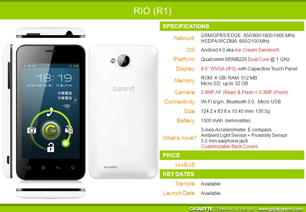 SPECIFICATIONS Network GSM/GPRS/EDGE: 850/900/1800/1900 MHz HSDPA/WCDMA: 900/2100 MHz OS Android 4.0 aka Ice Cream Sandwich Platform Qualcomm MSM8225