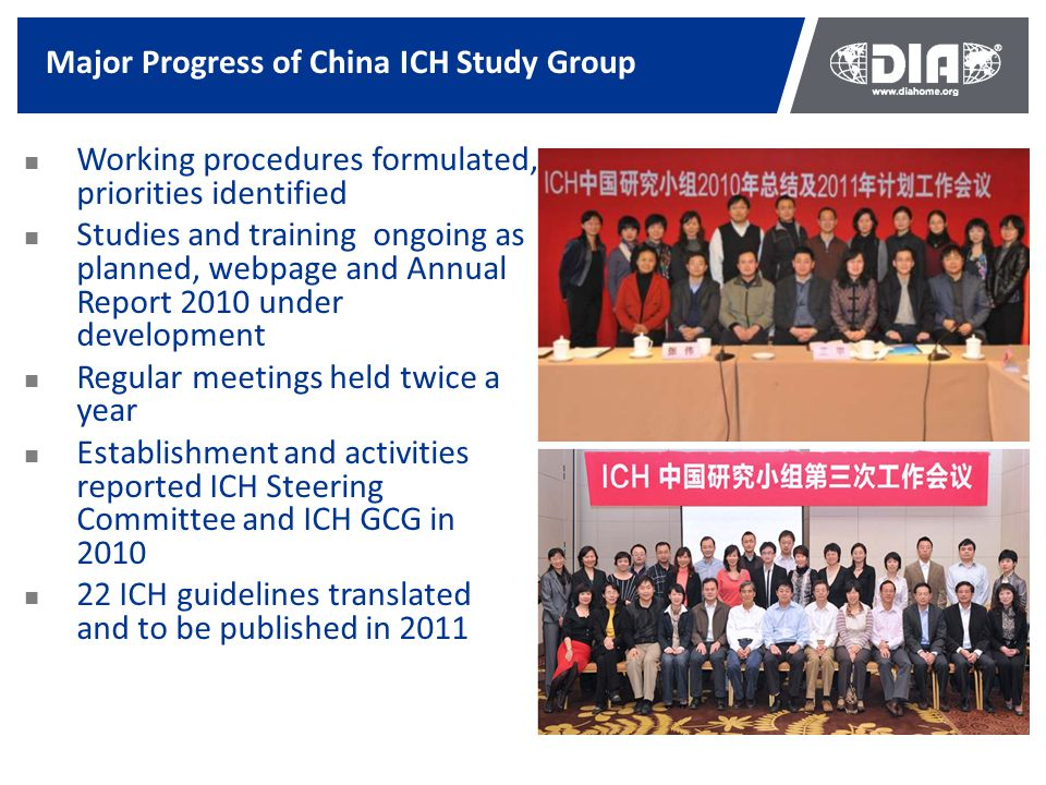 Major Progress of China ICH Study Group Working procedures formulated, priorities identified Studies and training ongoing as planned, webpage and Annu