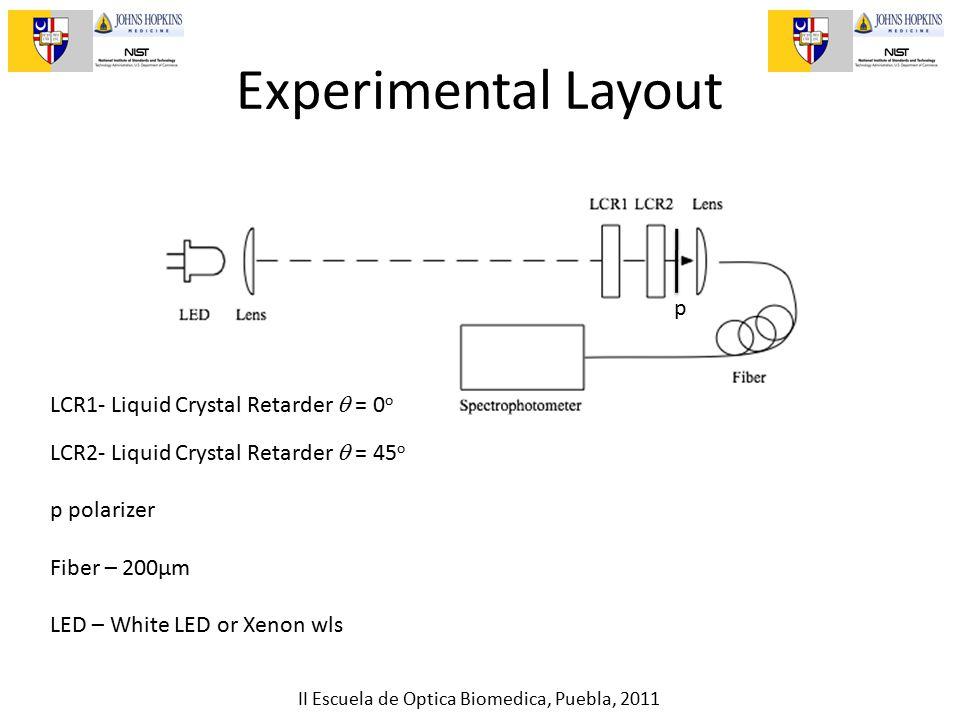 II Escuela de Optica Biomedica, Puebla, 2011 Experimental Layout LCR1- Liquid Crystal Retarder  = 0 o LCR2- Liquid Crystal Retarder  = 45 o p polarizer Fiber – 200µm LED – White LED or Xenon wls p