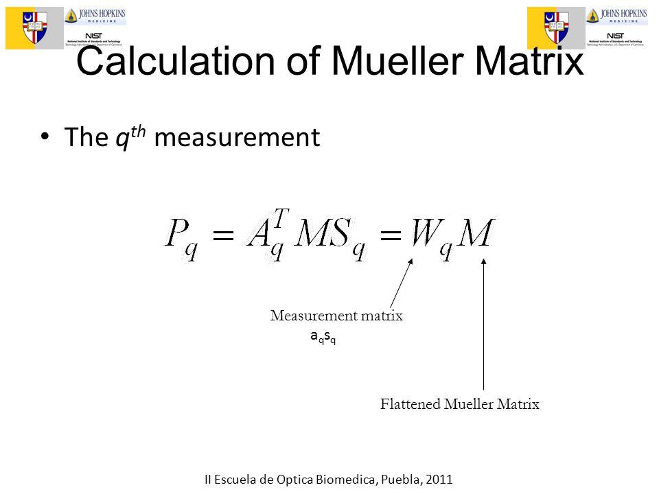 II Escuela de Optica Biomedica, Puebla, 2011 Flattened Mueller Matrix Measurement matrix The q th measurement Calculation of Mueller Matrix aqsqaqsq