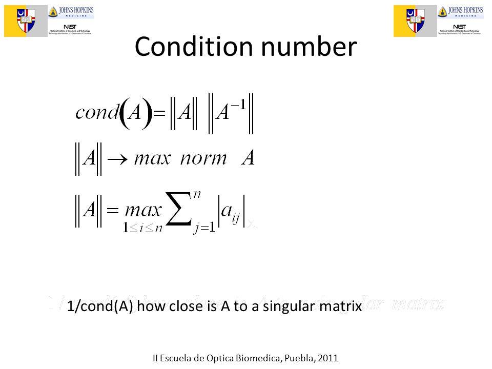 II Escuela de Optica Biomedica, Puebla, 2011 Condition number 1/cond(A) how close is A to a singular matrix